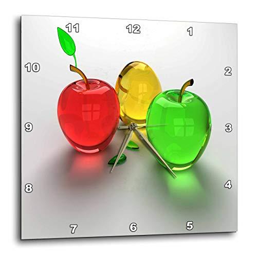 壁掛け時計 インテリア 海外モデル アメリカ 輸入 3dRose DPP_98432_3 Glass Apples in Red Yellow N Green Wall Clock, 15 by 15