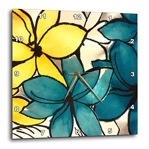 壁掛け時計 インテリア 海外モデル アメリカ 輸入 3dRose DPP_32104_3 Teal and Yellow Floral Wall Clock, 15 by 15-Inch壁掛け時計 インテリア 海外モデル アメリカ 輸入