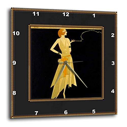 壁掛け時計 インテリア 海外モデル アメリカ 輸入 3dRose LLC DPP_39590_3 Wall Clock, 15 by 15-Inch, Art Deco Lady on Black with Gold Frame壁掛け時計 インテリア 海外モデル アメリカ 輸入