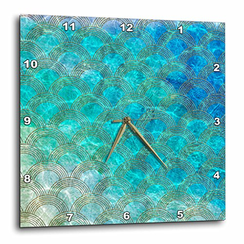 壁掛け時計 インテリア 海外モデル アメリカ 輸入 3dRose Shiny Teal Ocean Mermaid Scales Glitter Effect Art Print Wall Clock, 15