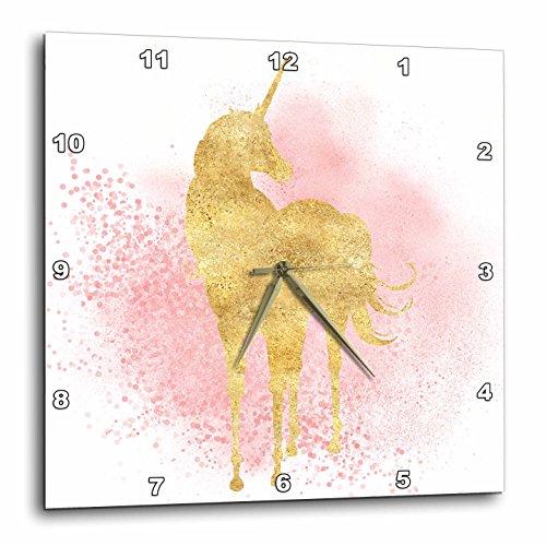 壁掛け時計 インテリア 海外モデル アメリカ 輸入 3dRose Image of Blush Pink Sparkle Confetti Gold Unicorn Wall Clock, 15 x 15壁掛け時計 インテリア 海外モデル アメリカ 輸入