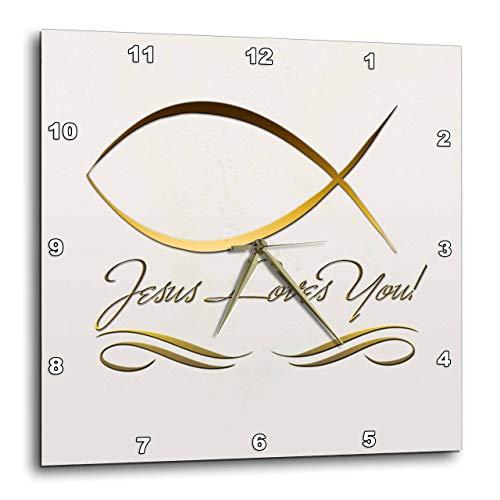 壁掛け時計 インテリア 海外モデル アメリカ 輸入 3dRose DPP_37576_3 Elegant Ichthus, Jesus Fish, and Jesus Loves You in Gold Letters on a Light Beige Background Wall Clock, 15 by 15-Inch壁掛け時計 インテリア 海外モデル アメリカ 輸入