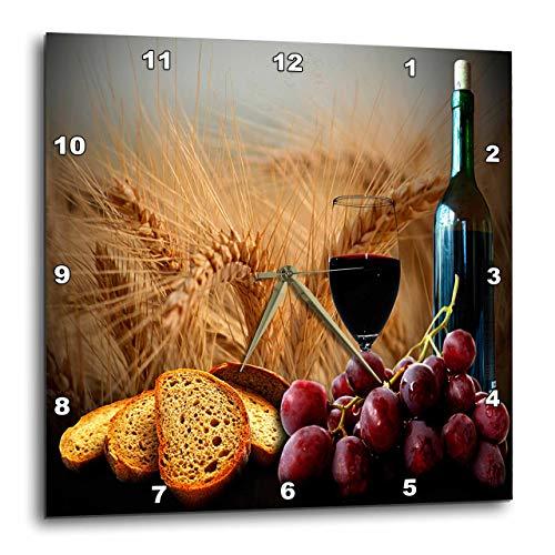 壁掛け時計 インテリア 海外モデル アメリカ 輸入 3dRose DPP_14294_2 Wine Bread Grapes Wall Clock, 13 by 13-Inch壁掛け時計 インテリア 海外モデル アメリカ 輸入