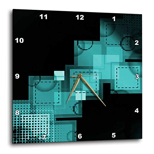 壁掛け時計 インテリア 海外モデル アメリカ 輸入 3dRose DPP_111211_3 Turquoise Squares Stitched & Digital Abstract Art Wall Clock, 15 by 15