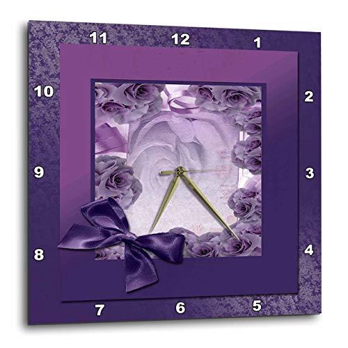 壁掛け時計 インテリア 海外モデル アメリカ 輸入 3dRose dpp_49115_3 Purple Rose Frame with Bow-Wall Clock, 15 by 15-Inch壁掛け時計 インテリア 海外モデル アメリカ 輸入