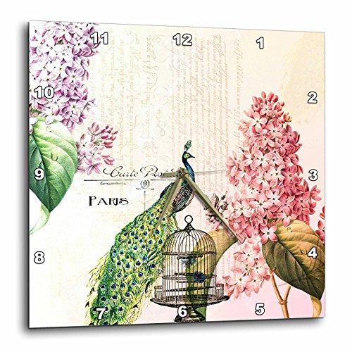 壁掛け時計 インテリア 海外モデル アメリカ 輸入 3dRose DPP_110312_3 Paris Peacock with Hydrangea Flowers-Wall Clock, 15 by 15-Inch壁掛け時計 インテリア 海外モデル アメリカ 輸入