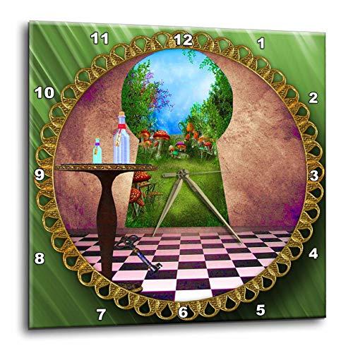 壁掛け時計 インテリア 海外モデル アメリカ 輸入 3dRose LLC DPP_128860_3 Wall Clock, 15 by 15-Inch, Through The Keyholes Alice in Wonderland Art Checkered Floor Bottle of Magic Water壁掛け時計 インテリア 海外モデル アメリカ 輸入