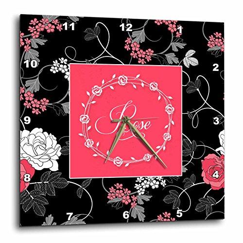 壁掛け時計 インテリア 海外モデル アメリカ 輸入 3dRose Doreen Erhardt Love and Romance - Vintage Pink Roses on Black with Love Typography Wreath Frame - 15x15 Wall Clock (DPP_283476_3)壁掛け時計 インテリア 海外モデル アメリカ 輸入