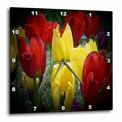壁掛け時計 インテリア 海外モデル アメリカ 輸入 3dRose dpp_6001_3 Red, Yellow and Purple Tulips in Spotlight-Wall Clock, 15 by 15-Inch壁掛け時計 インテリア 海外モデル アメリカ 輸入