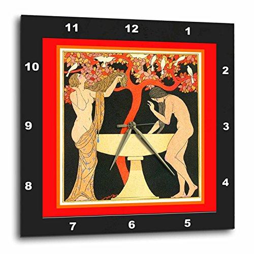 壁掛け時計 インテリア 海外モデル アメリカ 輸入 3dRose DPP_44759_2 Barbier Art Nouveau with Ladies in Black N Red Frames Wall Clock, 13 by 13-Inch壁掛け時計 インテリア 海外モデル アメリカ 輸入