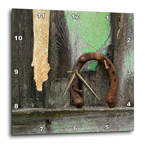 壁掛け時計 インテリア 海外モデル アメリカ 輸入 3D Rose USA - Montana. Rusty Horseshoe on Old Fence Wall Clock, 15