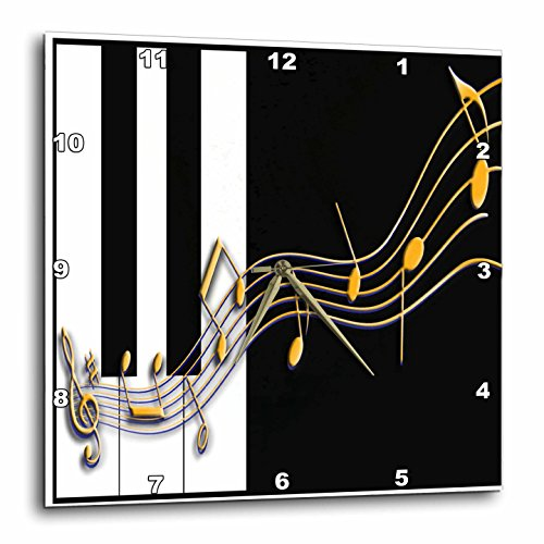 壁掛け時計 インテリア 海外モデル アメリカ 輸入 3dRose dpp_18761_3 Gold Music Notes on Piano Keys Wall Clock, 15 by 15-Inch壁掛け時計 インテリア 海外モデル アメリカ 輸入