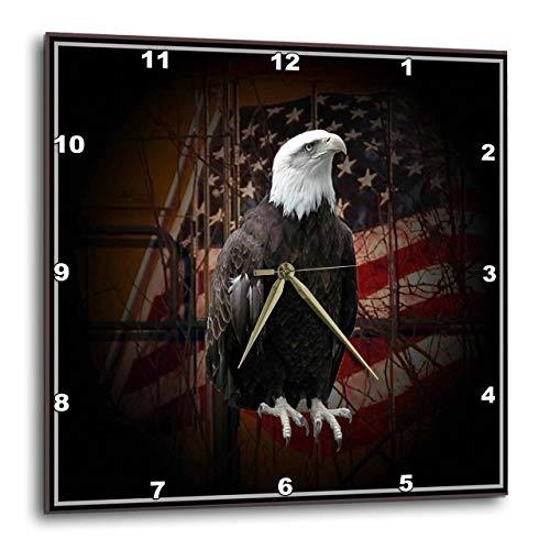 壁掛け時計 インテリア 海外モデル アメリカ 輸入 3dRose DPP_11602_3 Bald Eagle with American Flag Wall Clock, 15 by 15-Inch壁掛け時計 インテリア 海外モデル アメリカ 輸入