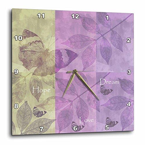 壁掛け時計 インテリア 海外モデル アメリカ 輸入 3dRose dpp_99238_3 Hope, Love, Dream Inspirational Butterflies and Leaves-Wall Clock, 15 by 15-Inch壁掛け時計 インテリア 海外モデル アメリカ 輸入