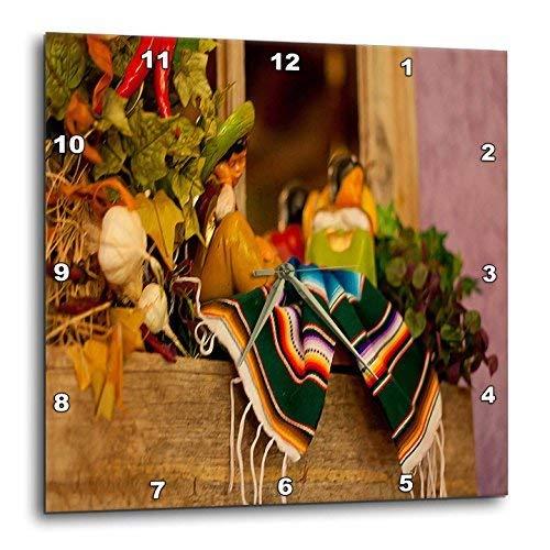 壁掛け時計 インテリア 海外モデル アメリカ 輸入 3dRose dpp_52081_3 Hispanic Girl and Boy Ceramic Hanging on a Mirror with Hot Chilis and Leaves at Mexican Restaurant-Wall Clock, 15 by 15-Inch壁掛け時計 インテリア 海外モデル アメリカ 輸入
