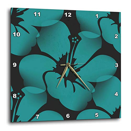 壁掛け時計 インテリア 海外モデル アメリカ 輸入 3dRose DPP_59872_3 Teal Blue Tropical Hibiscus Flowers-Floral Art-Hawaiian-Wall Clock, 15 by 15-Inch壁掛け時計 インテリア 海外モデル アメリカ 輸入