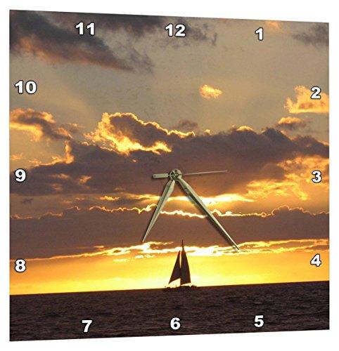 壁掛け時計 インテリア 海外モデル アメリカ 輸入 3dRose Sailboat at Sunset Sailing Boat Ship with Sails at Sea Ocean Yellow Sailor Sail Nautical Photography - Wall Clock, 15 by 15-Inch (DPP_112954_3)壁掛け時計 インテリア 海外モデル アメリカ 輸入
