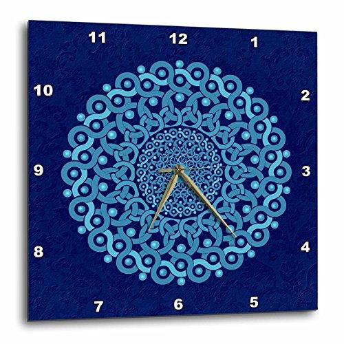 壁掛け時計 インテリア 海外モデル アメリカ 輸入 3dRose dpp_32175_3 Turquoise and Cobalt Blue Fantasy Mandala on Royal Blue Muted Grunge Damask-Wall Clock, 15 by 15-Inch壁掛け時計 インテリア 海外モデル アメリカ 輸入