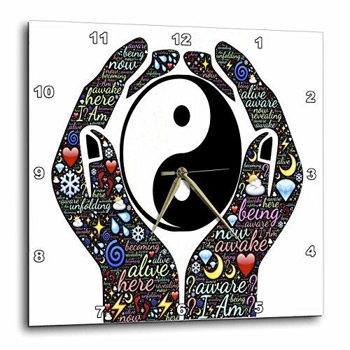 壁掛け時計 インテリア 海外モデル アメリカ 輸入 3dRose Motivational Cupped Hands with Sayings and Yin and Yang Sign - Wall Clock, 15 by 15-Inch (DPP_214650_3)壁掛け時計 インテリア 海外モデル アメリカ 輸入