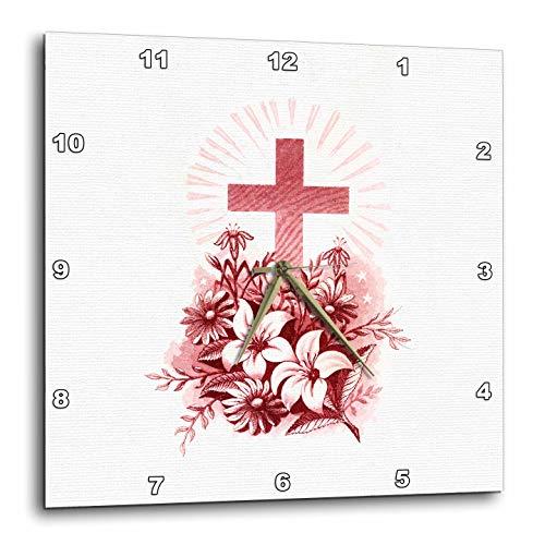 壁掛け時計 インテリア 海外モデル アメリカ 輸入 3dRose Uta Naumann Watercolor Illustration - Victorian Floral Vintage Easter Cross Jesus Illustration - 15x15 Wall Clock (DPP_293291_3)壁掛け時計 インテリア 海外モデル アメリカ 輸入