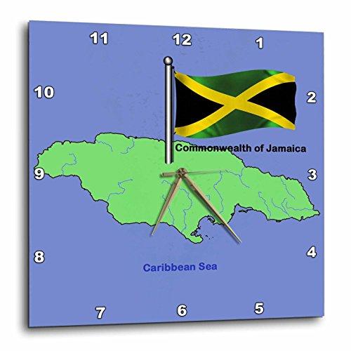 壁掛け時計 インテリア 海外モデル アメリカ 輸入 3dRose dpp_49044_2 Flag and Map of The Commonwealth of Jamaica with Waving Jamaican Flag-Wall Clock, 13 by 13-Inch壁掛け時計 インテリア 海外モデル アメリカ 輸入