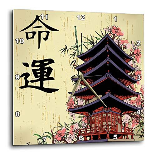 壁掛け時計 インテリア 海外モデル アメリカ 輸入 3dRose DPP_116193_3 Beautiful Japanese Pagoda with Pink Sakura and Bamboo Destiny Luck Kanji Symbols Asian Design-Wall Clock, 15 by 15-Inch壁掛け時計 インテリア 海外モデル アメリカ 輸入