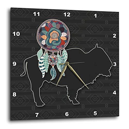 壁掛け時計 インテリア 海外モデル アメリカ 輸入 3dRose Doreen Erhardt Native American - an American Buffalo on Charcoal Gray Pattern for a Tribal Theme - 13x13 Wall Clock (DPP_304648_2)壁掛け時計 インテリア 海外モデル アメリカ 輸入
