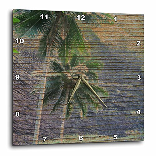 壁掛け時計 インテリア 海外モデル アメリカ 輸入 3dRose DPP_28039_3 Wood Tropical Hawaii Palm Trees Wall Clock, 15 by 15-Inch壁掛け時計 インテリア 海外モデル アメリカ 輸入