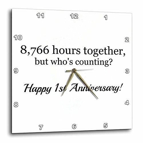 壁掛け時計 インテリア 海外モデル アメリカ 輸入 3dRose Happy 1st Anniversary - 8766 Hours Together - Wall Clock, 15 by 15