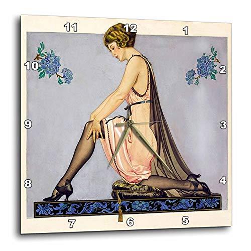 壁掛け時計 インテリア 海外モデル アメリカ 輸入 3dRose DPP_49320_3 Art Deco Hoisery Ad Wall Clock, 15 x 15壁掛け時計 インテリア 海外モデル アメリカ 輸入