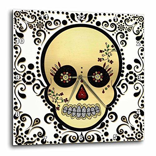 壁掛け時計 インテリア 海外モデル アメリカ 輸入 3dRose DPP_175370_3 Sugar Skull Gold and Black Wall Clock, 15 by 15-Inch壁掛け時計 インテリア 海外モデル アメリカ 輸入
