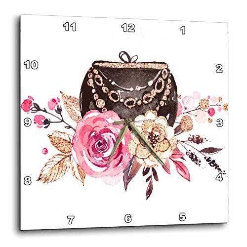 壁掛け時計 インテリア 海外モデル アメリカ 輸入 3dRose Anne Marie Baugh - Illustrations - Pretty Floral Purse Illustration - 15x15 Wall Clock (DPP_295512_3)壁掛け時計 インテリア 海外モデル アメリカ 輸入
