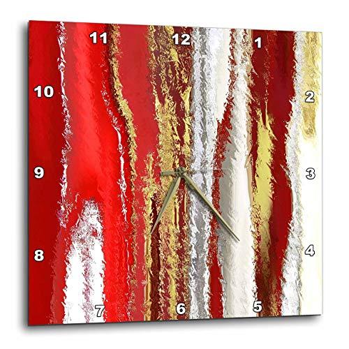 壁掛け時計 インテリア 海外モデル アメリカ 輸入 3D Rose Picture of Modern Painting Red Silver n Gold Melt Wall Clock, 15