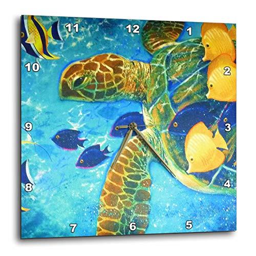 壁掛け時計 インテリア 海外モデル アメリカ 輸入 3dRose DPP_43865_3 Turtle n Fish Wall Clock, 15 by 15-Inch壁掛け時計 インテリア 海外モデル アメリカ 輸入