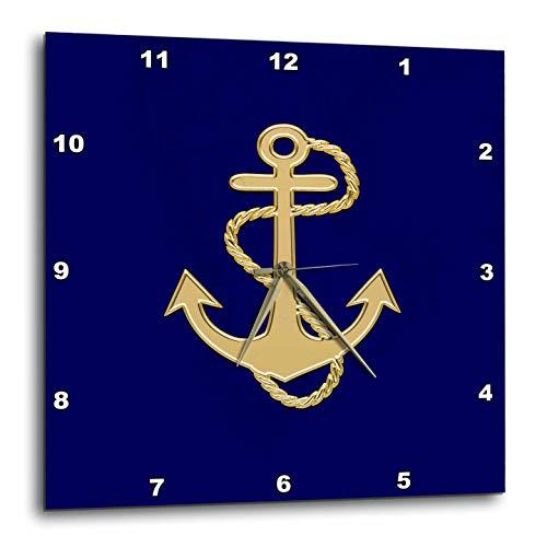 壁掛け時計 インテリア 海外モデル アメリカ 輸入 3dRose Lens Art by Florene - Nautical Decor - Image of Popular Gold Anchor with Chain On Navy Blue - 15x15 Wall Clock (DPP_306840_3)壁掛け時計 インテリア 海外モデル アメリカ 輸入