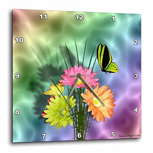 壁掛け時計 インテリア 海外モデル アメリカ 輸入 3dRose dpp_17831_3 Painted Daisys and Butterflies Wall Clock, 15 by 15-Inch壁掛け時計 インテリア 海外モデル アメリカ 輸入