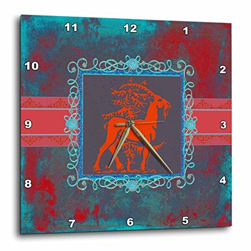 壁掛け時計 インテリア 海外モデル アメリカ 輸入 3dRose DPP_186412_3 Majestic Goat Next to Tree, Pewter Look Frame, Red, Aqua, Blue, Green Wall Clock, 15 by 15-Inch壁掛け時計 インテリア 海外モデル アメリカ 輸入