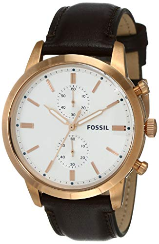 フォッシル 腕時計 メンズ Fossil Men's 44mm Townsman Stainless Steel Quartz Leather Strap, Brown, 22 Casual Watch (Model: FS5468)フォッシル 腕時計 メンズ