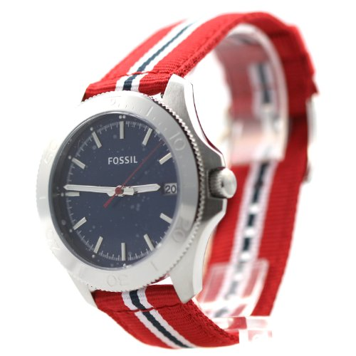 フォッシル 腕時計 メンズ 【送料無料】Fossil Retro Traveler Three Hand Nylon Watch - Red Am4479フォッシル 腕時計 メンズ