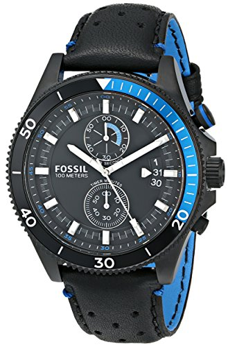 フォッシル 腕時計 メンズ Fossil Men's CH2934 Wakefield Chronograph Black Stainless Steel Watch with Leather Bandフォッシル 腕時計 メンズ