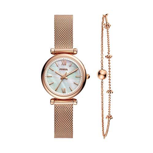 フォッシル 腕時計 レディース 【送料無料】Fossil Women's Quartz Mini Carlie Stainless Steel Mesh Watch and and Bracelet Gift Box, Color: Rose Gold (Model: ES4443SET)フォッシル 腕時計 レディース