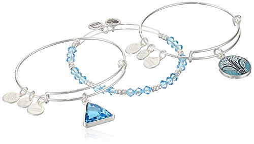 アレックスアンドアニ アメリカ アクセサリー ブランド かわいい Alex and Ani Womens Blue Lotus Set of 3 Bangle Bracelet, Shiny Silver, Expandableアレックスアンドアニ アメリカ アクセサリー ブランド かわいい