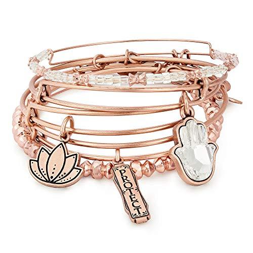 アレックスアンドアニ アメリカ アクセサリー ブランド かわいい Alex and Ani Women's Crystal Infusion Protect Set of 5 RAR Bracelet, Rafaelian Rose Gold, Expandableアレックスアンドアニ アメリカ アクセサリー ブランド かわいい