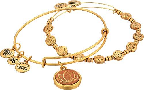 アレックスアンドアニ アメリカ アクセサリー ブランド かわいい 【送料無料】Alex and Ani Lotus Wood Charm Two-Tone Bracelet Set of 2 Rafaliean Gold One Sizeアレックスアンドアニ アメリカ アクセサリー ブランド かわいい