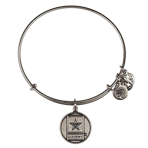アレックスアンドアニ アメリカ アクセサリー ブランド かわいい Alex and ANI US Army Charm Rafaelian Silver Bangle Bracelet AS12ARMYRSアレックスアンドアニ アメリカ アクセサリー ブランド かわいい