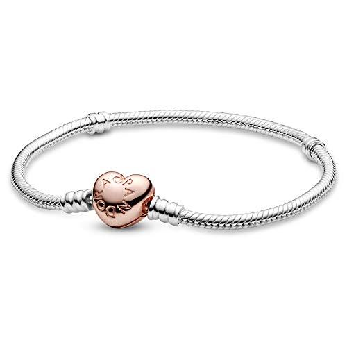 パンドラ ブレスレット アクセサリー ブランド かわいい PANDORA Sterling Silver Bracelet with Pandora Rose Heart Clasp, 7.1 INパンドラ ブレスレット アクセサリー ブランド かわいい