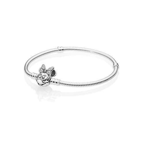 パンドラ ブレスレット アクセサリー ブランド かわいい Pandora Disney Shimmering Minnie Portrait Silver 6.3 inches Bracelet 597770CZ-16パンドラ ブレスレット アクセサリー ブランド かわいい