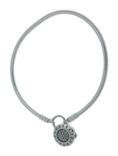 パンドラ ブレスレット アクセサリー ブランド かわいい PANDORA Smooth Signature Padlock Clasp Bracelet, Clear CZ, 597092CZ (21)パンドラ ブレスレット アクセサリー ブランド かわいい