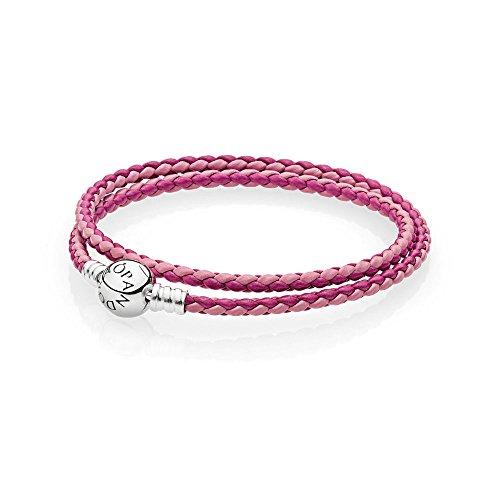 パンドラ ブレスレット アクセサリー ブランド かわいい Pandora Mixed Pink Woven Double-Leather Charm Bracelet 590747CPMXD2パンドラ ブレスレット アクセサリー ブランド かわいい