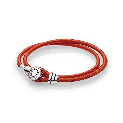 パンドラ ブレスレット アクセサリー ブランド かわいい Pandora Moments Spicy Orange Double Leather Bracelet 597194CSOD2パンドラ ブレスレット アクセサリー ブランド かわいい